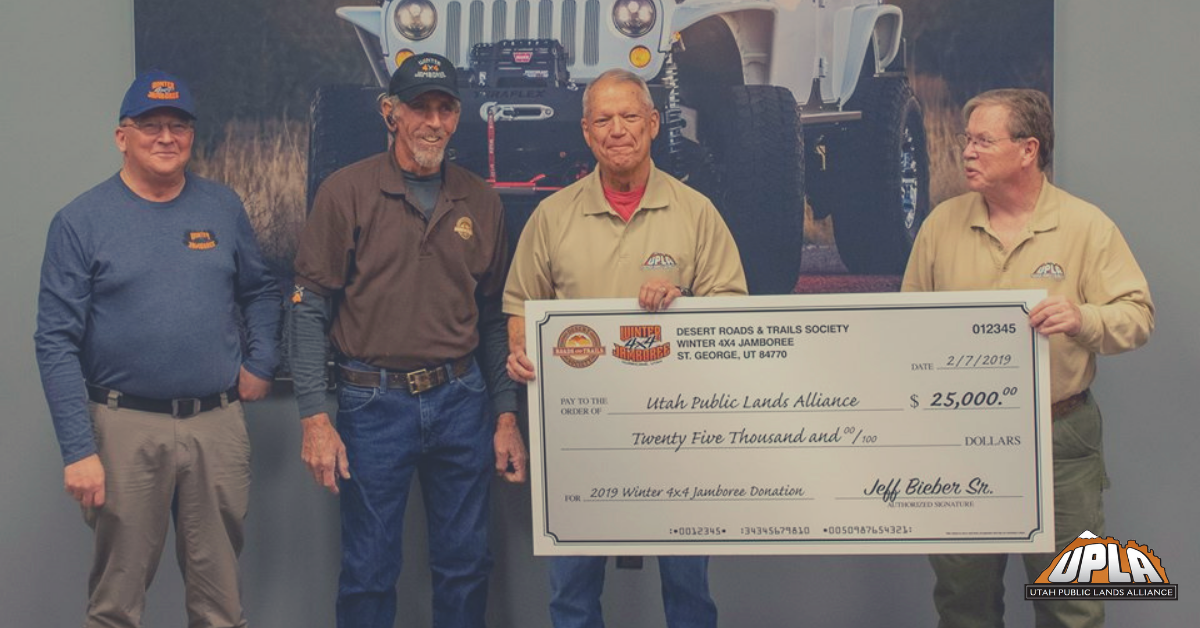 Utah Public Lands Alliance 2019 Donation From Winter 4X4 Jamboree